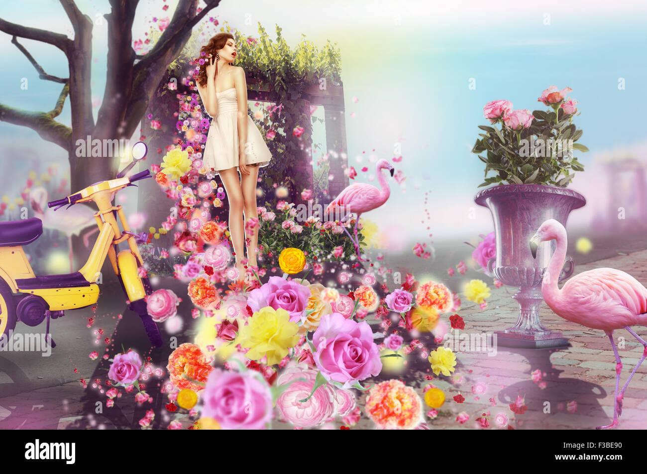 Kreatives Konzept. Bildende Kunst. Frau und Blumen Stockbild