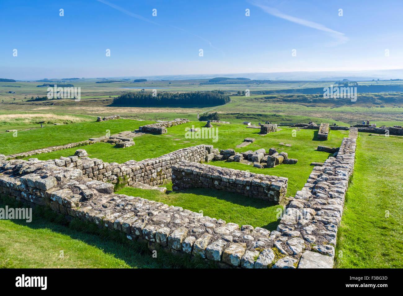 Housesteads Roman Fort am Hadrianswall, Northumberland, England, UK Stockbild