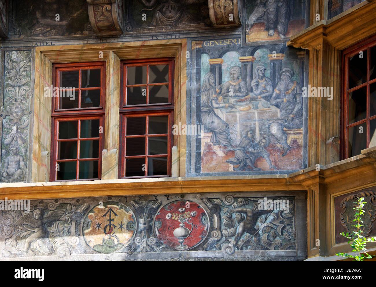 gemalte szene vom 1648 auf pfister haus colmar elsass frankreich stockfoto bild 88157437 alamy. Black Bedroom Furniture Sets. Home Design Ideas