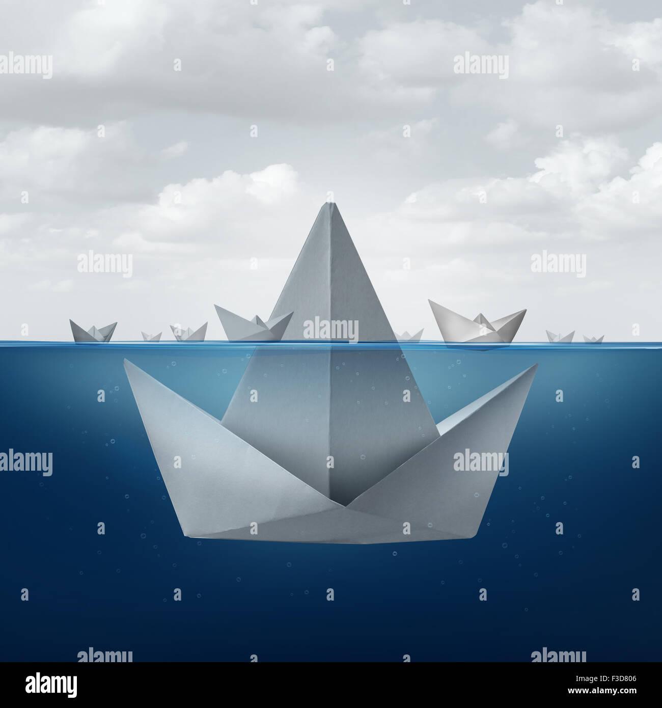 Geschäftskonzept Unwissenheit und Angst als eine Gruppe von Papierschiffchen den Tipp von einem riesigen Origami Stockbild
