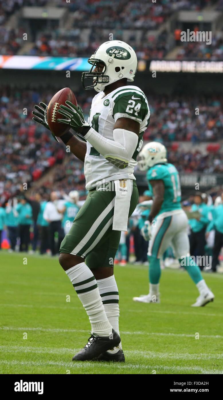 London, UK. 4. Oktober 2015. New York Jets Cornerback Darrelle Revis (24) bei den New York Jets International Series Stockfoto