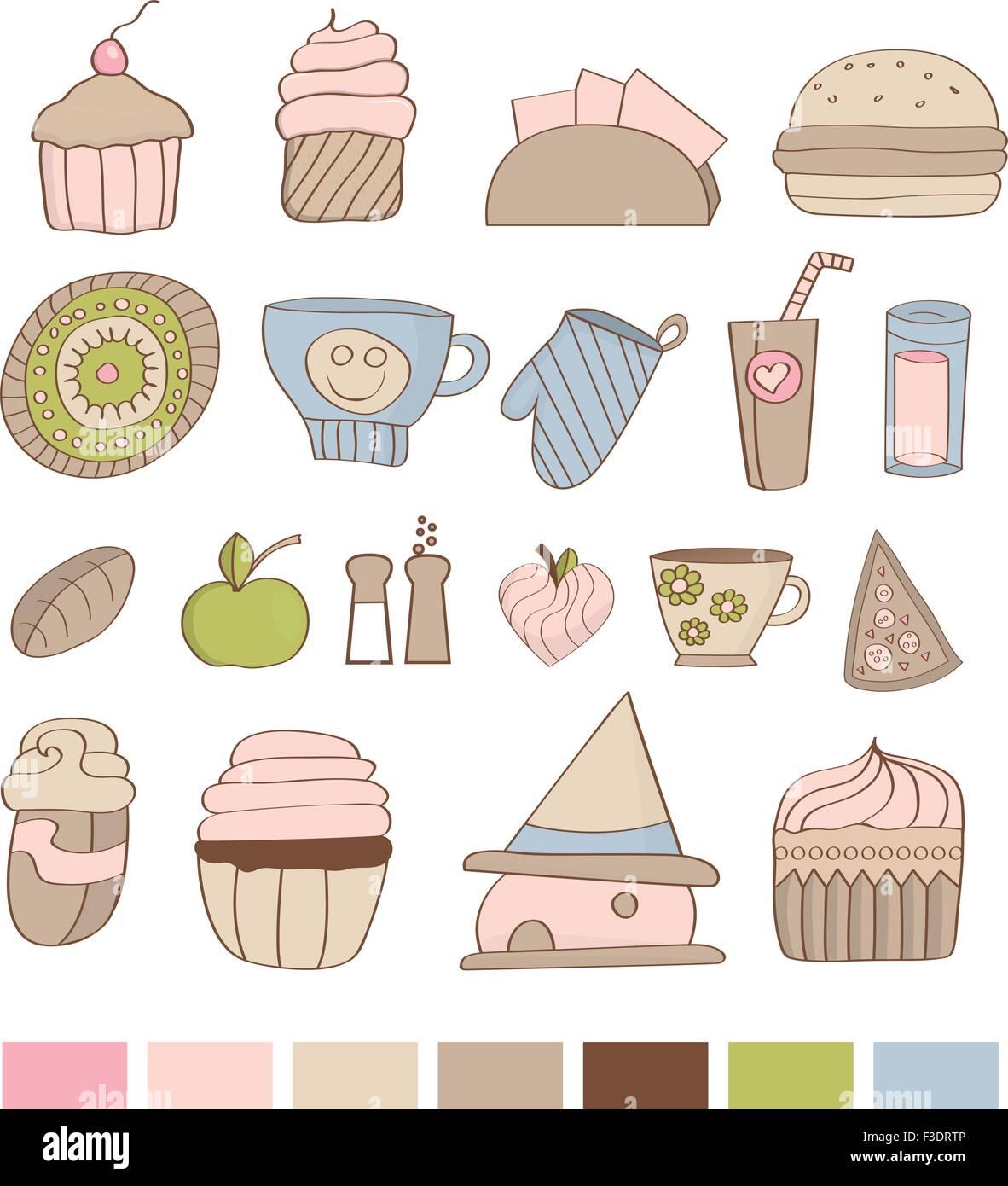 Farbpalette Küche | Satz Von Kuche Dinge Susse Speisen Glas Mit Farbpalette Vektor