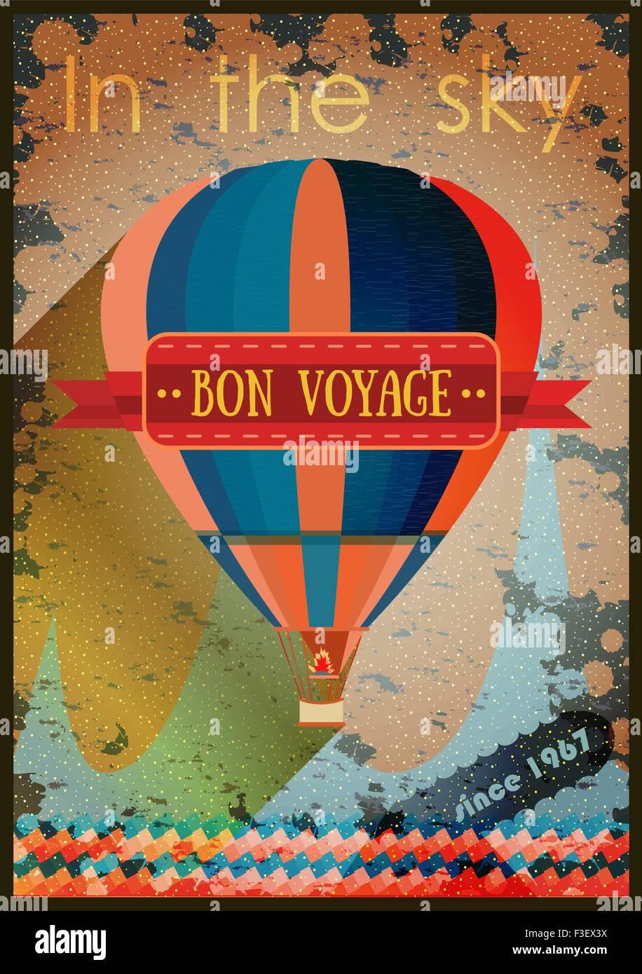 Vintage Heißluftballon in den Himmel. Vektor Hintergrund für die ...