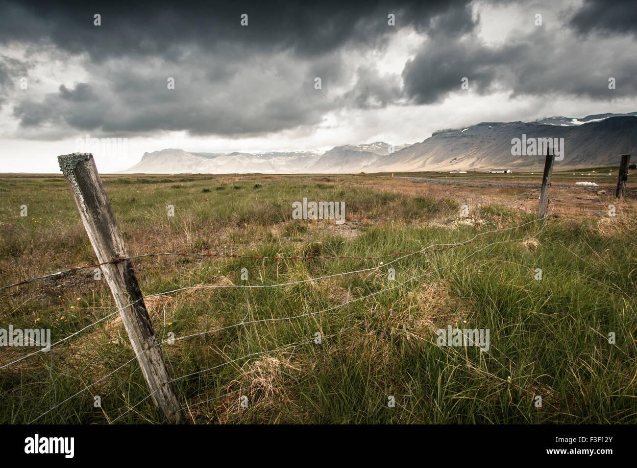 Geografie, Snaefellsnes, Zaun, Insel Stockbild