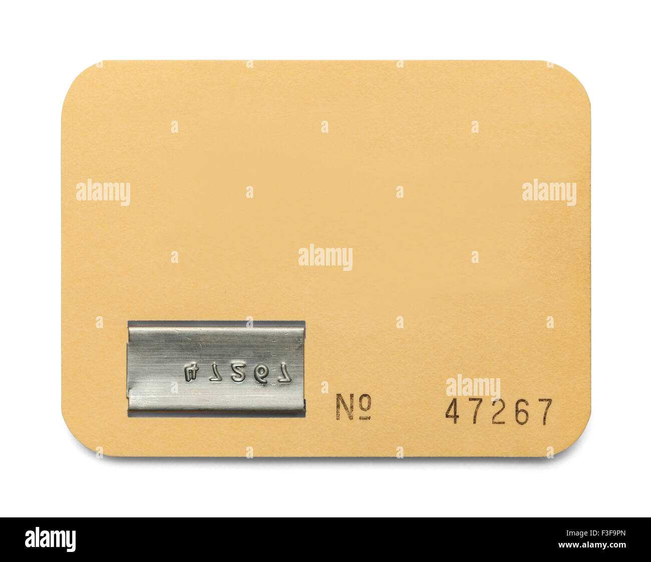 Papier-ID-Karte mit textfreiraum Isolated on White Background. Stockbild