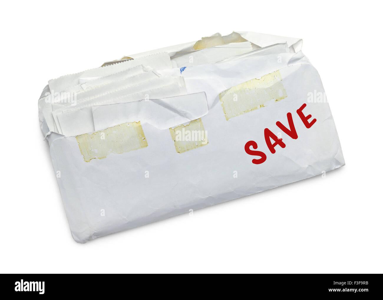 Umschlag voller Quittungen zu speichern isoliert auf weißem Hintergrund. Stockbild