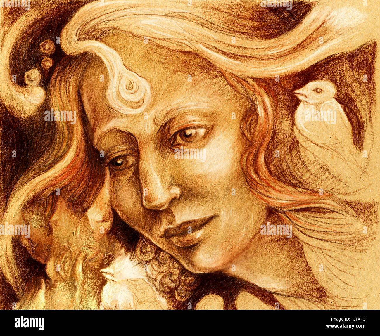 Fee Frau Gesicht Zeichnen Sepia Einfarbige Ornamentale