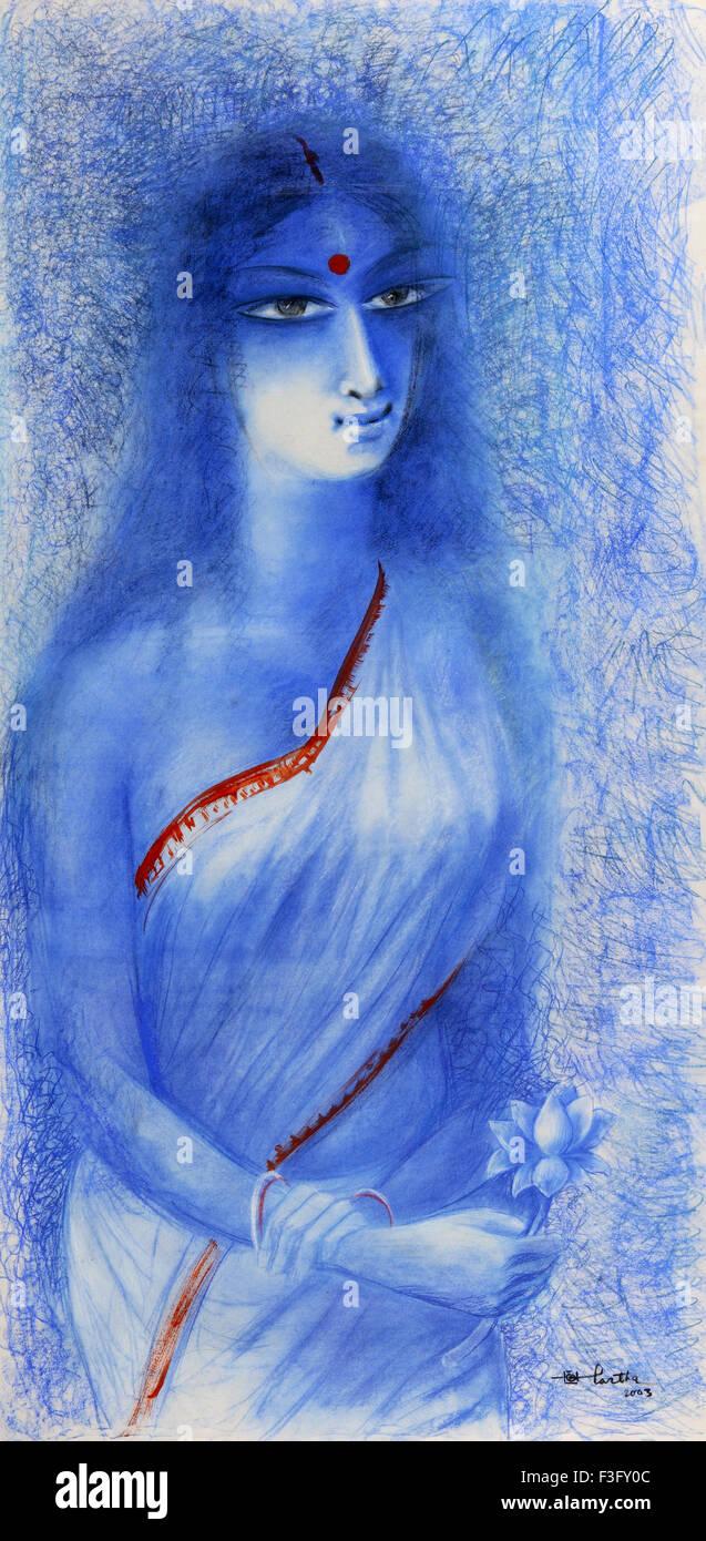 Ohne Titel von Maler Partha Bhattacharya Malerei Mix Media auf Papier 30 x 60' zeitgenössische Kunst von Stockbild