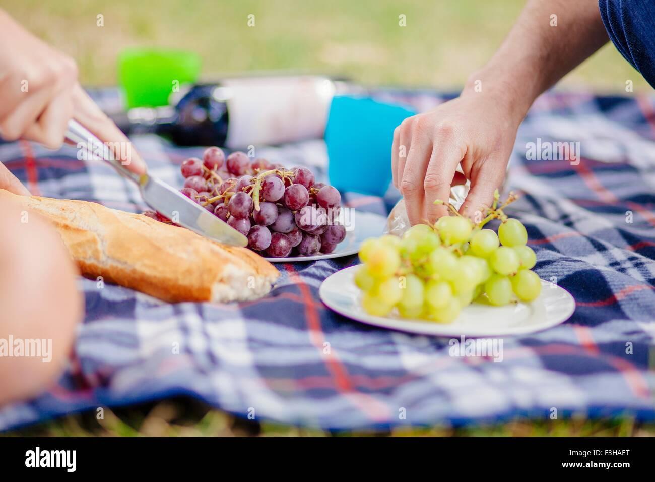 Blick auf Paare Hände greifen nach Trauben auf der Picknickdecke beschnitten Stockbild