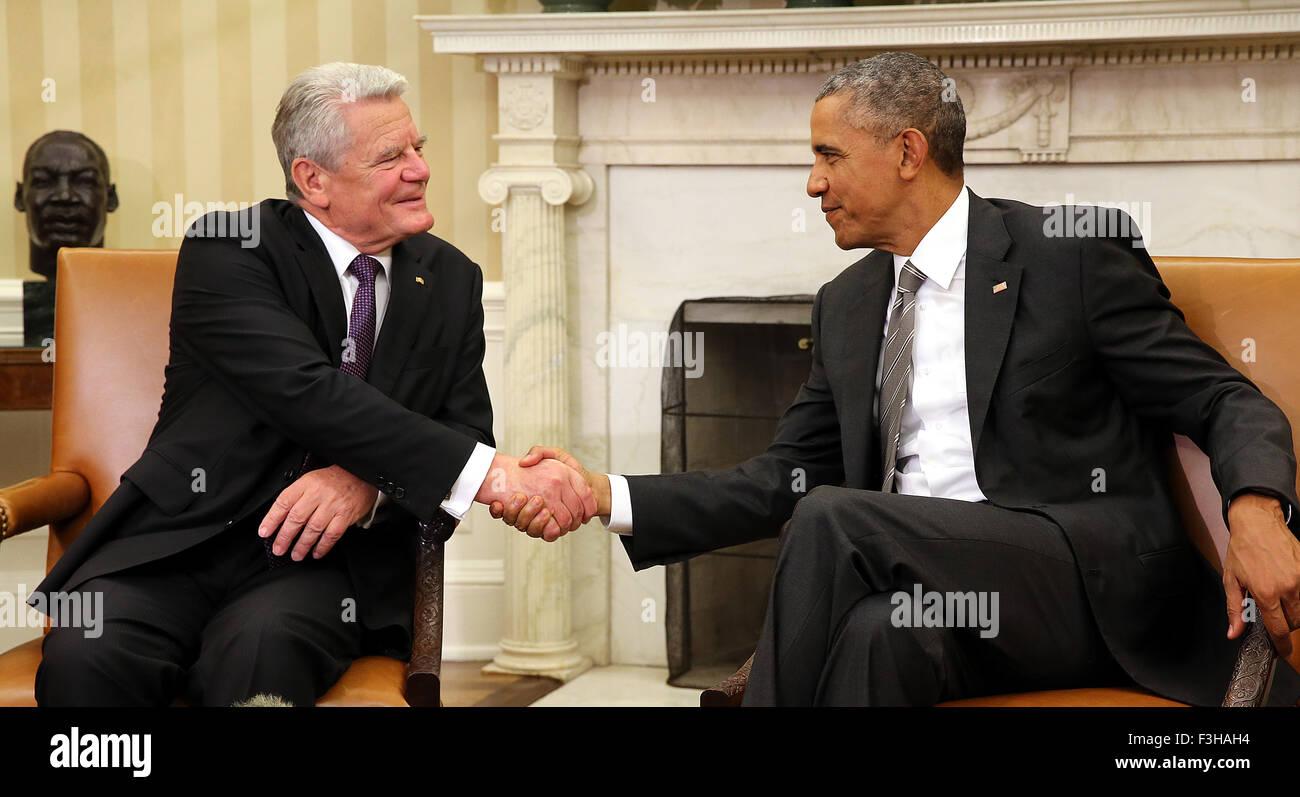 Washington DC, USA. 7. Oktober 2015. Washington, DC, USA. 7. Oktober 2015. Der deutsche Bundespräsident Joachim Stockfoto