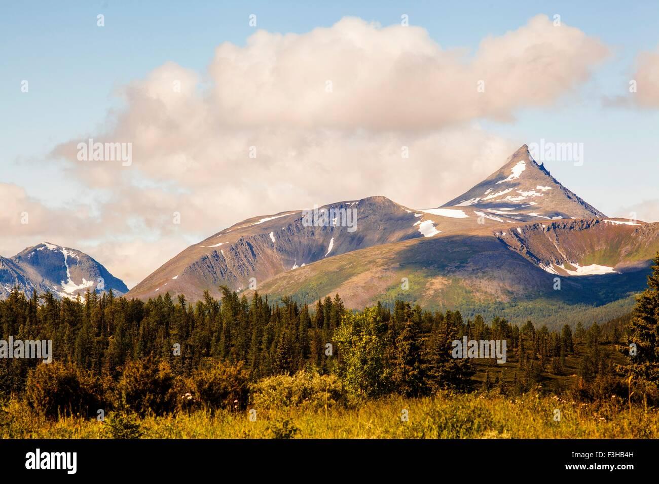 Ansicht des Berges Gipfel und Wald, Uralgebirge, Russland