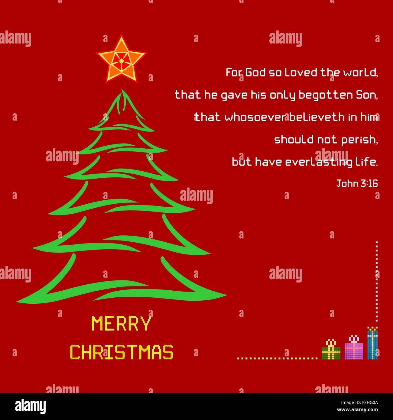 Ein Weihnachtsgruß mit Pinsel Strich Baum und bunten Stern auf rotem ...