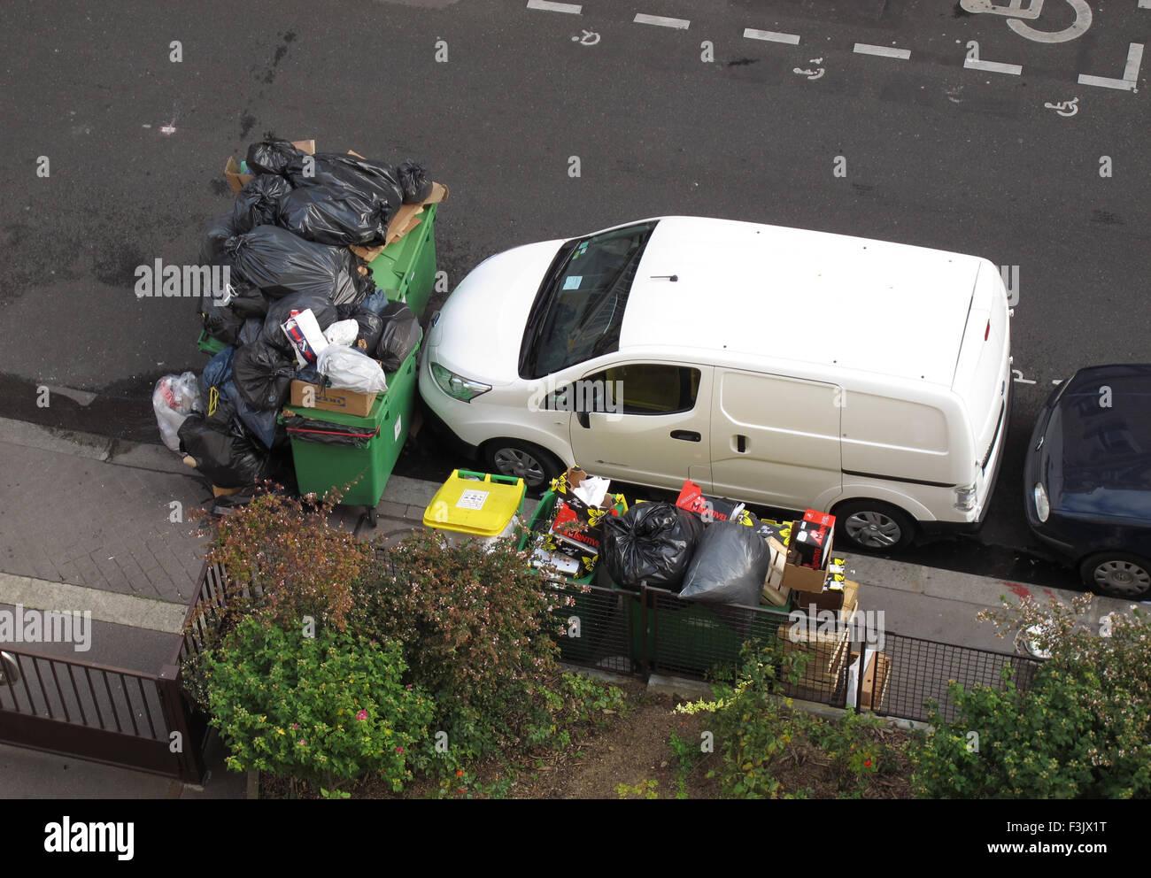 Streik der Müllabfuhr, Paris, Frankreich Stockbild