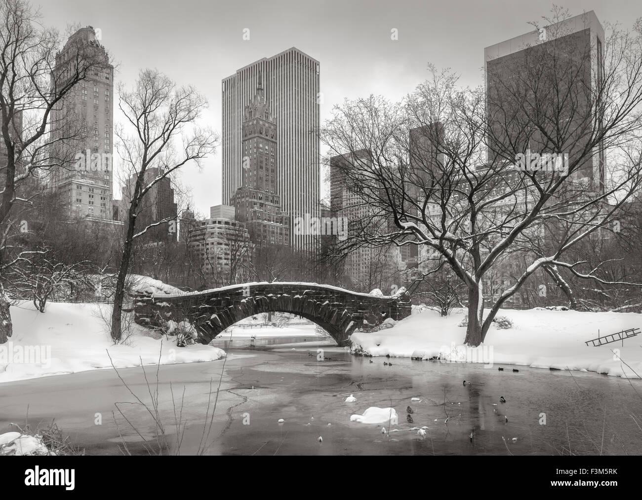 Central Park nach einem Schneesturm mit dem Teich gefroren und Gapstow Brücke bedeckt mit Schnee. Wolkenkratzer Stockbild