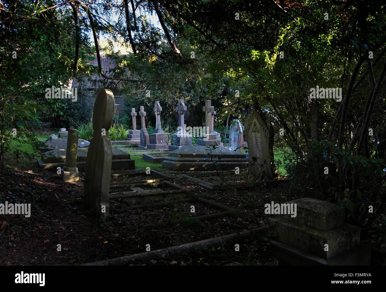 Gräber auf dem Friedhof einer viktorianischen Kirche in Sneyd Park, umgeben von Eiben, eine britische Bristol Stockfoto