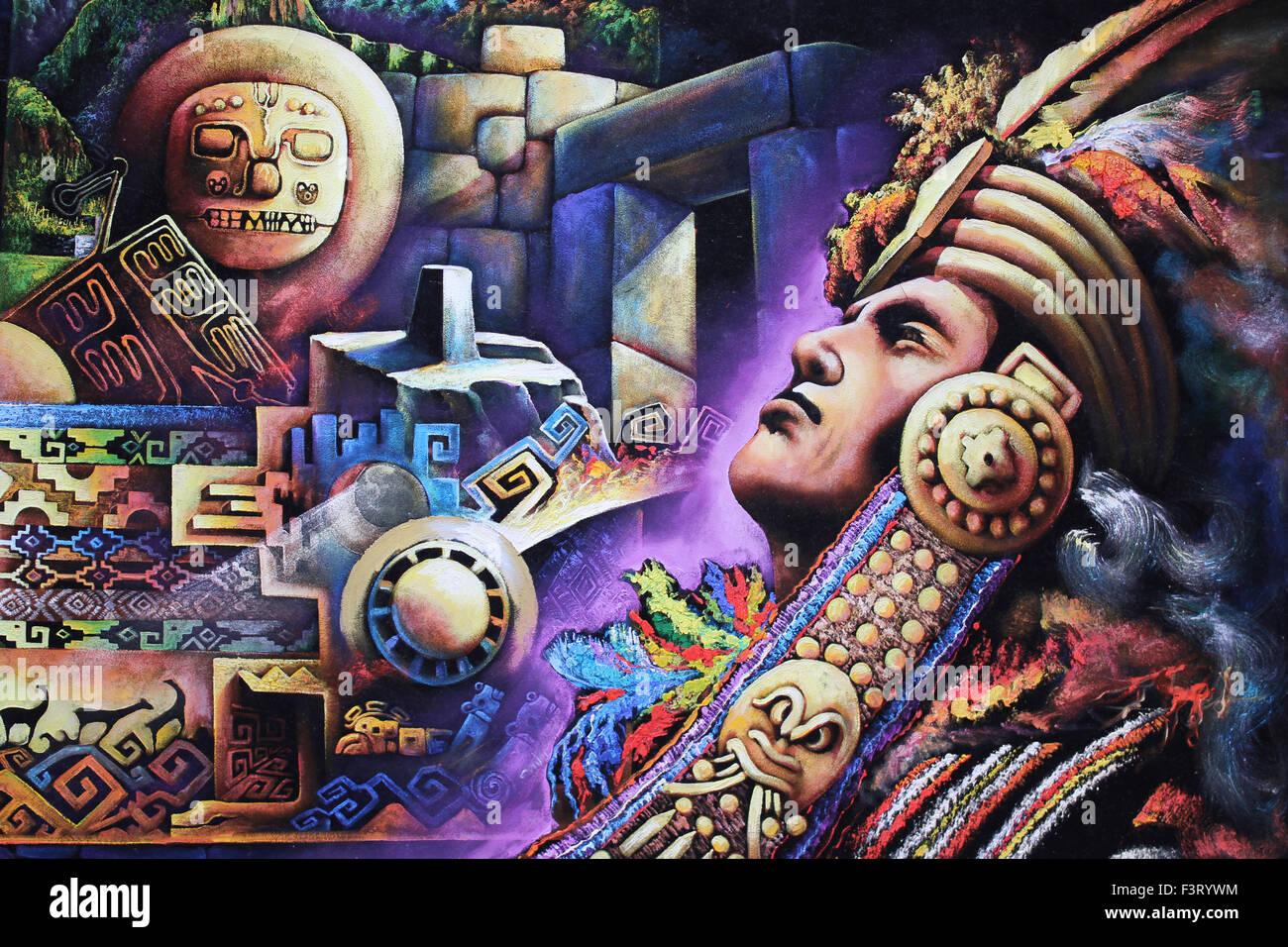 Zeitgenössische Malerei eines Inka-Krieger und Inka-Symbolik Stockbild