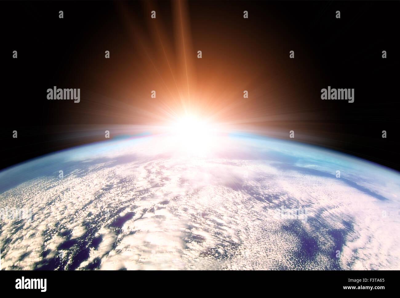 Illustration der aufgehenden Sonne über den Horizont der Erde Stockbild