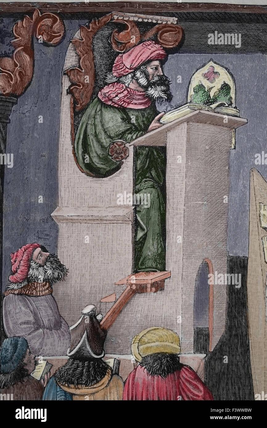 Mittelalterliche Universität. Kupferstich, 19. Jahrhundert. Spätere Färbung. Stockbild