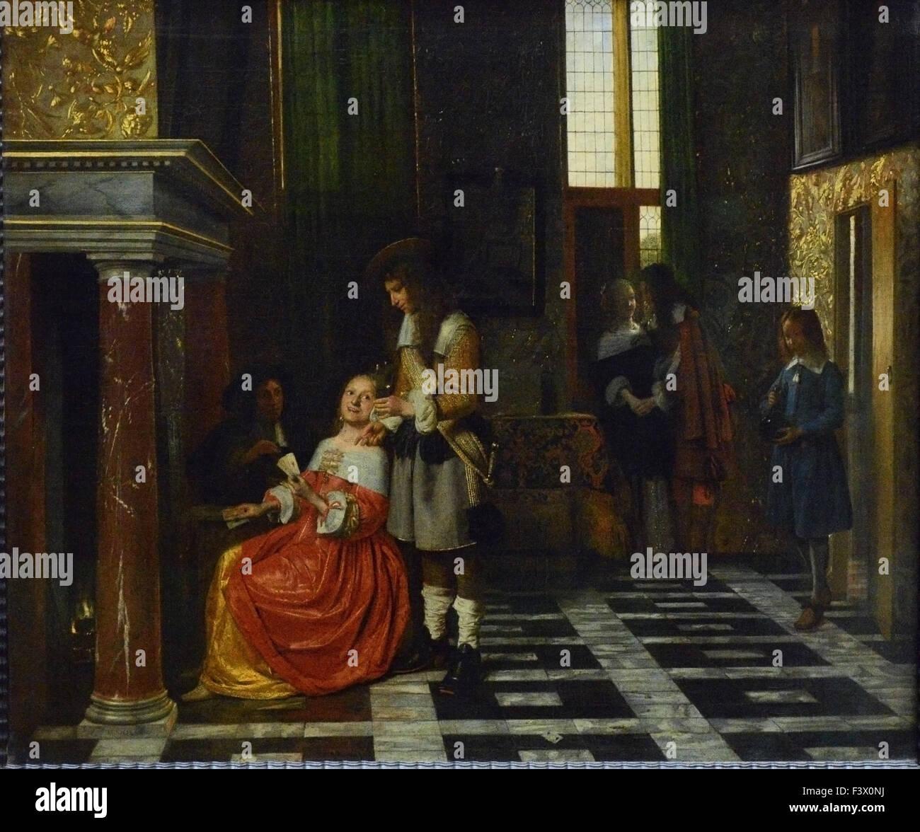 Pieter de Hooch - Joueurs de Cartes Dans un Riche Intérieur - Louvre Museum in Paris Stockbild
