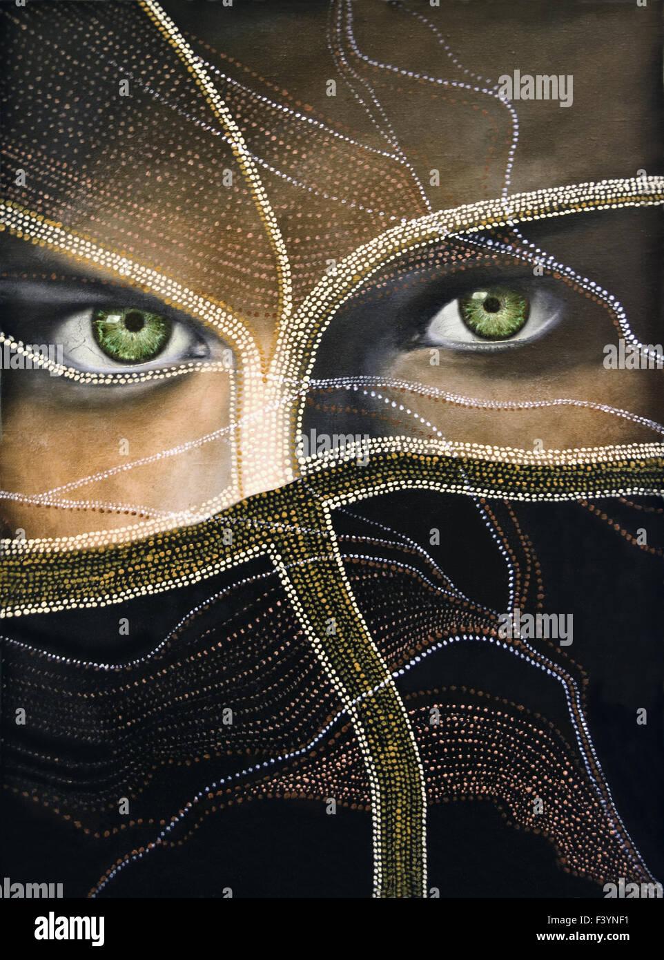smaragdgrünen Augen Stockbild
