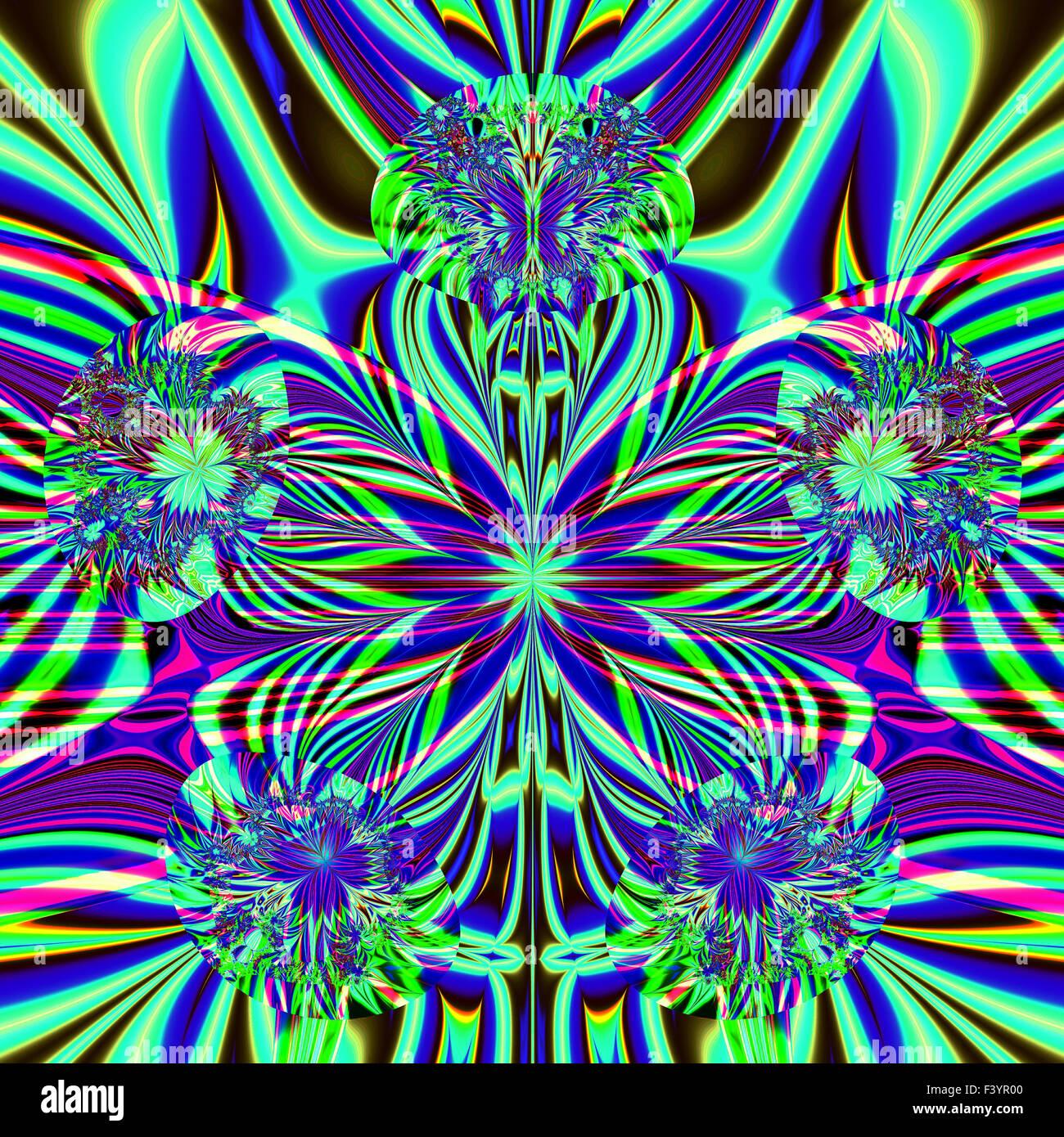 Wunderschöne bunte Fraktale bunten Ornamenten im Stil der Computergrafik. A-0279. Stockbild
