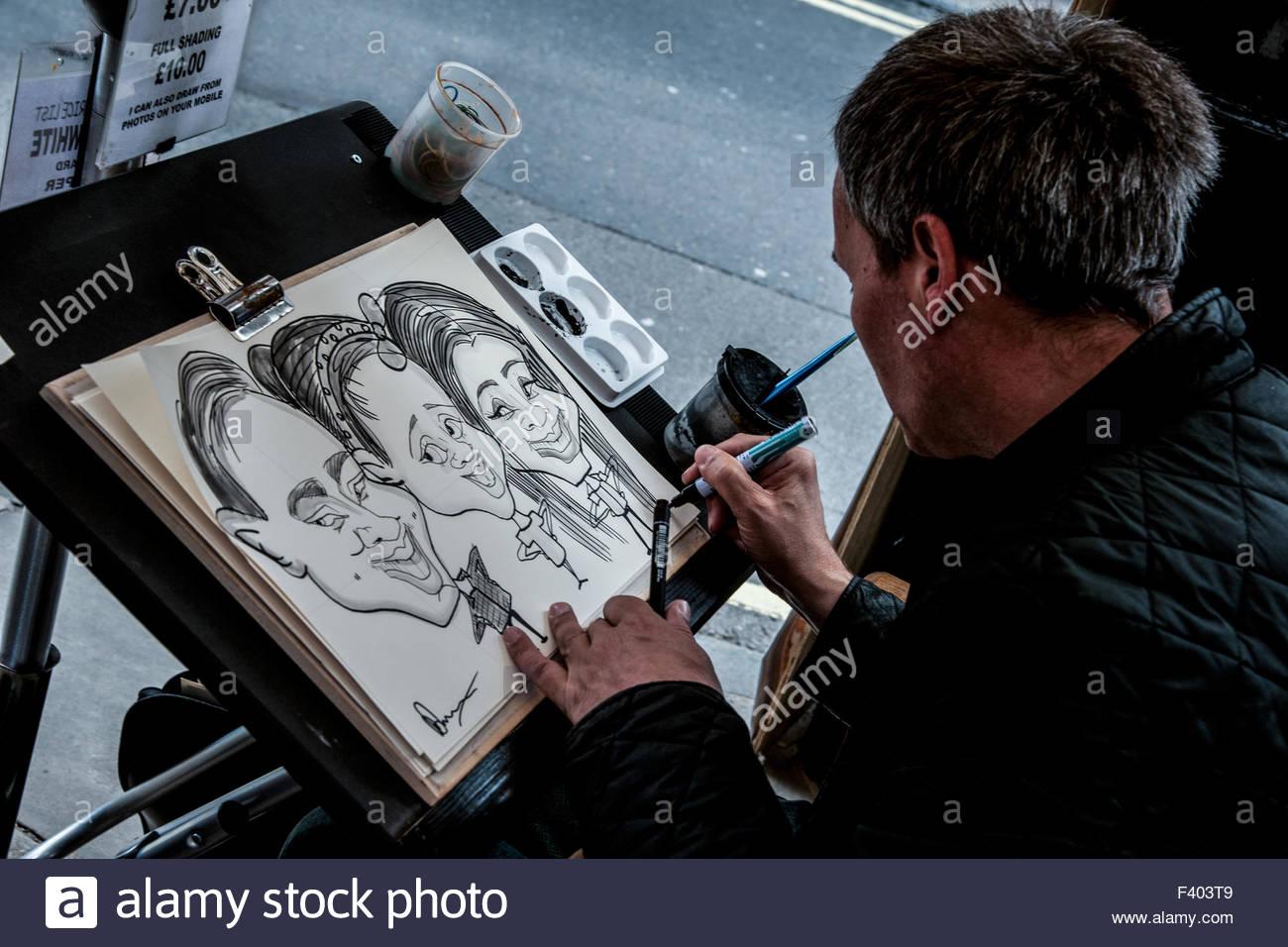 Streetart-Künstler in york Stockbild
