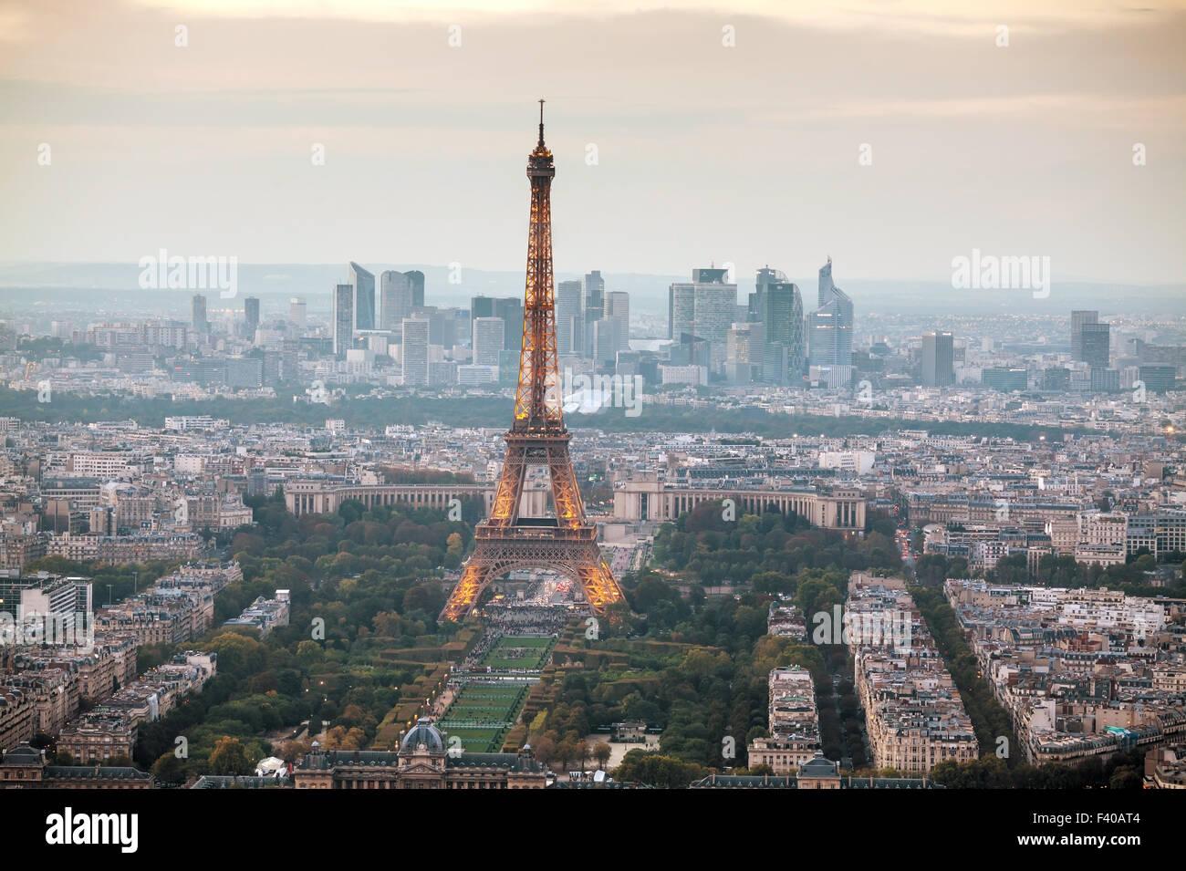 Stadtbild von Paris mit Eiffelturm Stockbild