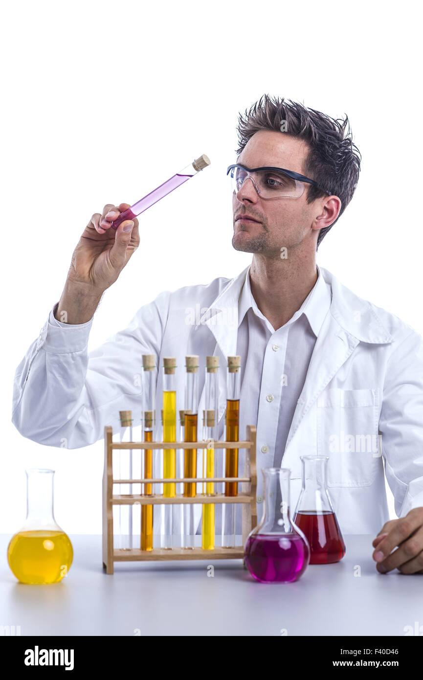 Chemiker im Labor Stockbild