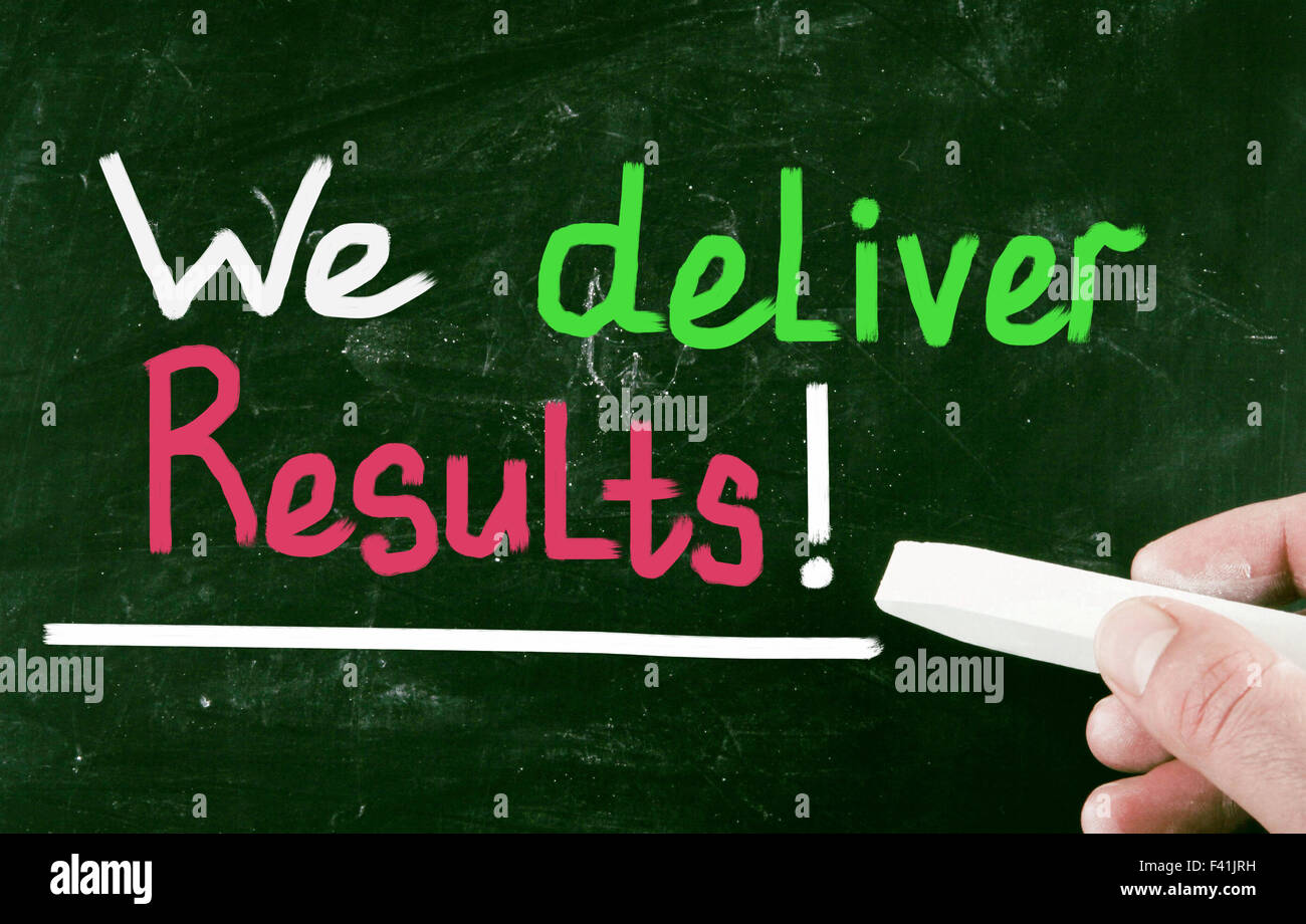Wir liefern Ergebnisse! Stockbild