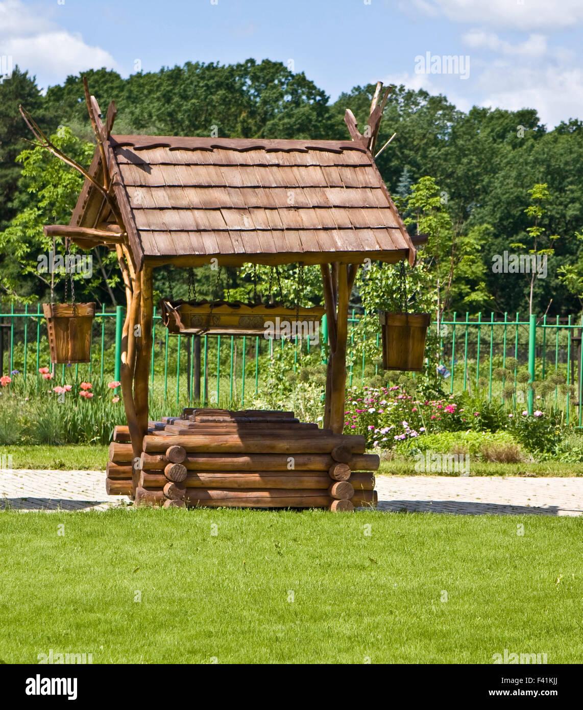 Ausstellung der Landschaftsgestaltung - Holz gut zeichnen. Stockbild