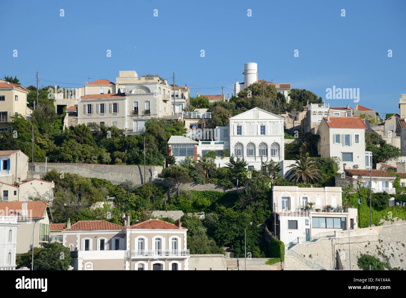 Die up-market Roucas Blanc Wohngebiet oder Bezirk auf der Corniche Kennedy Ufer oder Küste Marseille Provence Stockbild