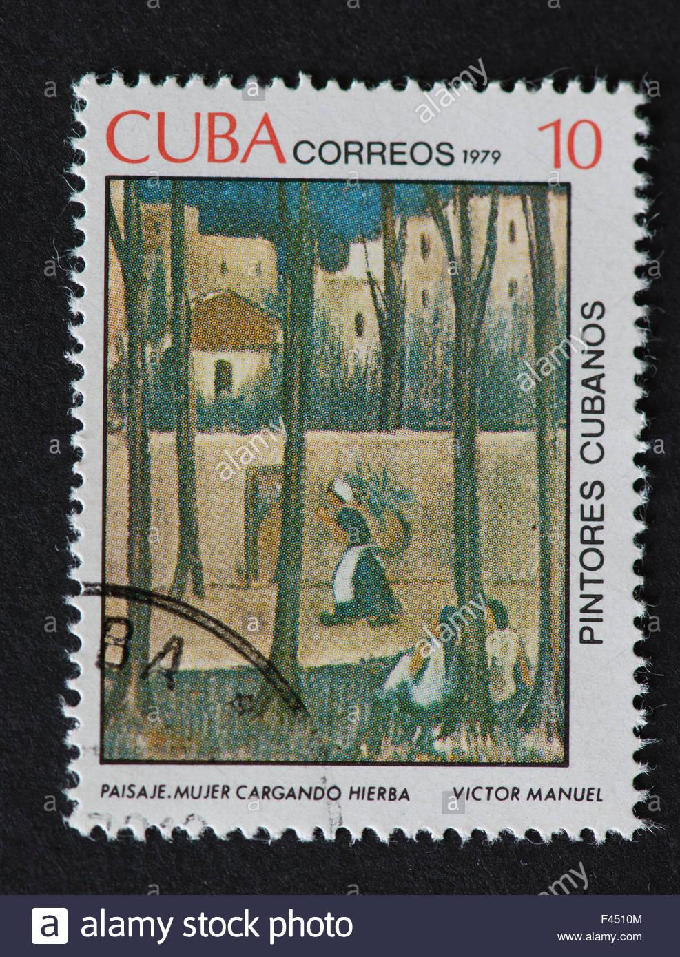 """Kubanische 1979 Stempel auf """"Maler von Kuba""""-Serie zeigt ein Gemälde von Victor Manuel, namens '' Stockbild"""