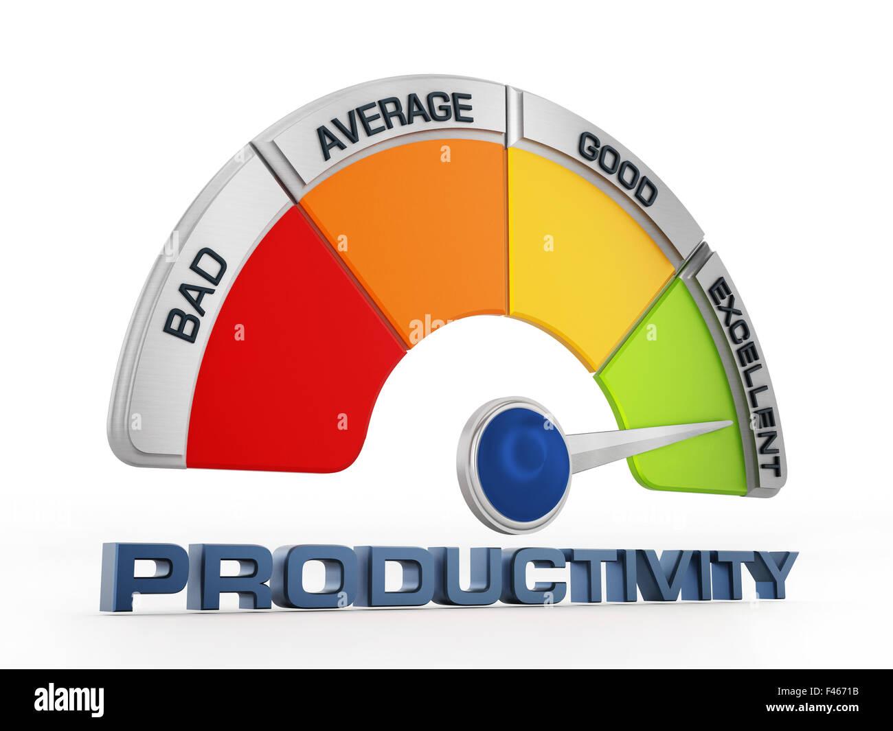 Produktivität-Level-Meter isoliert auf weißem Hintergrund Stockbild