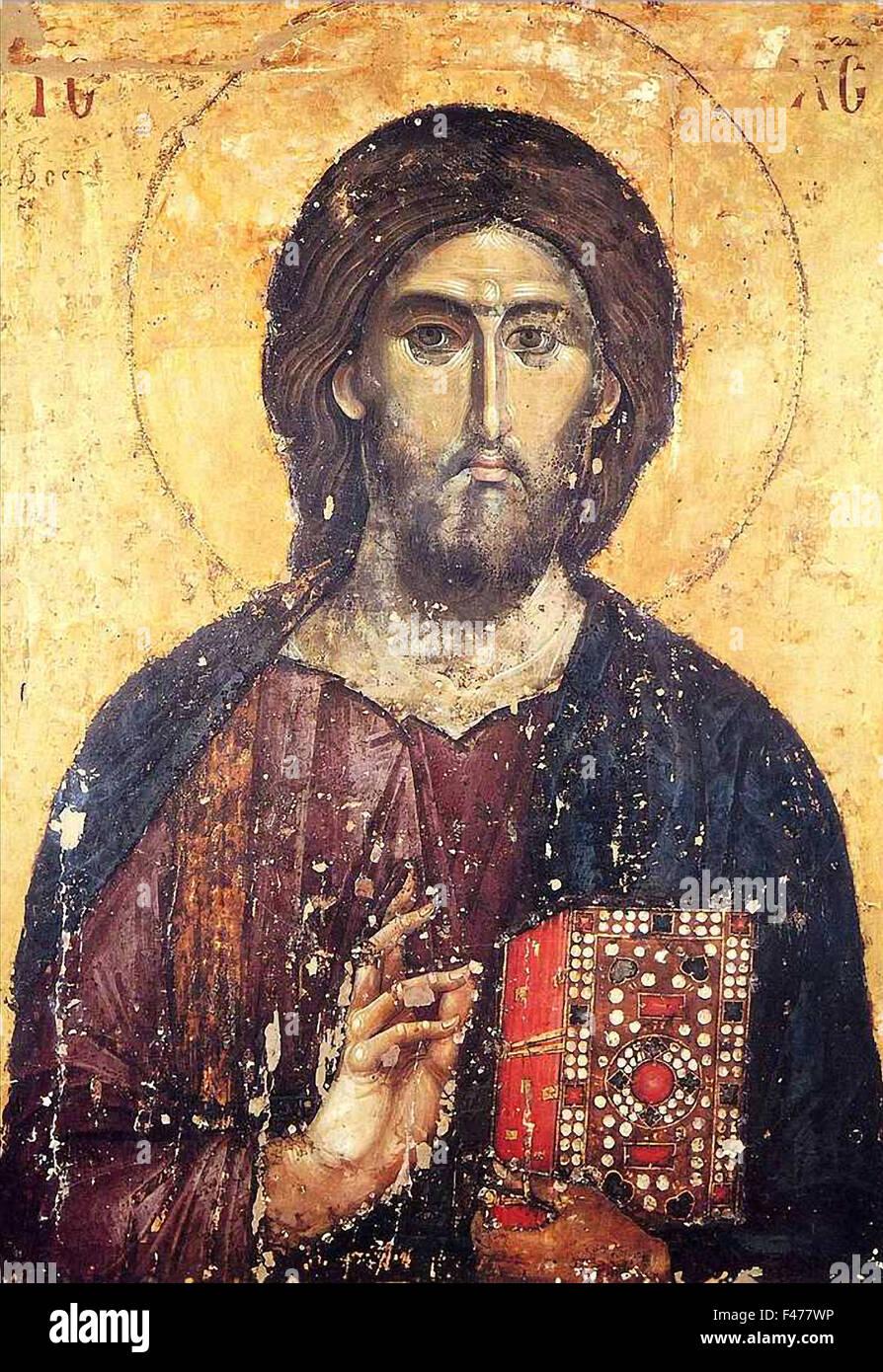 5778. Gemälde von Jesus Christus aus dem c. 13.. C befindet sich in einem Kloster in Serbien (Jugoslawien). Stockbild