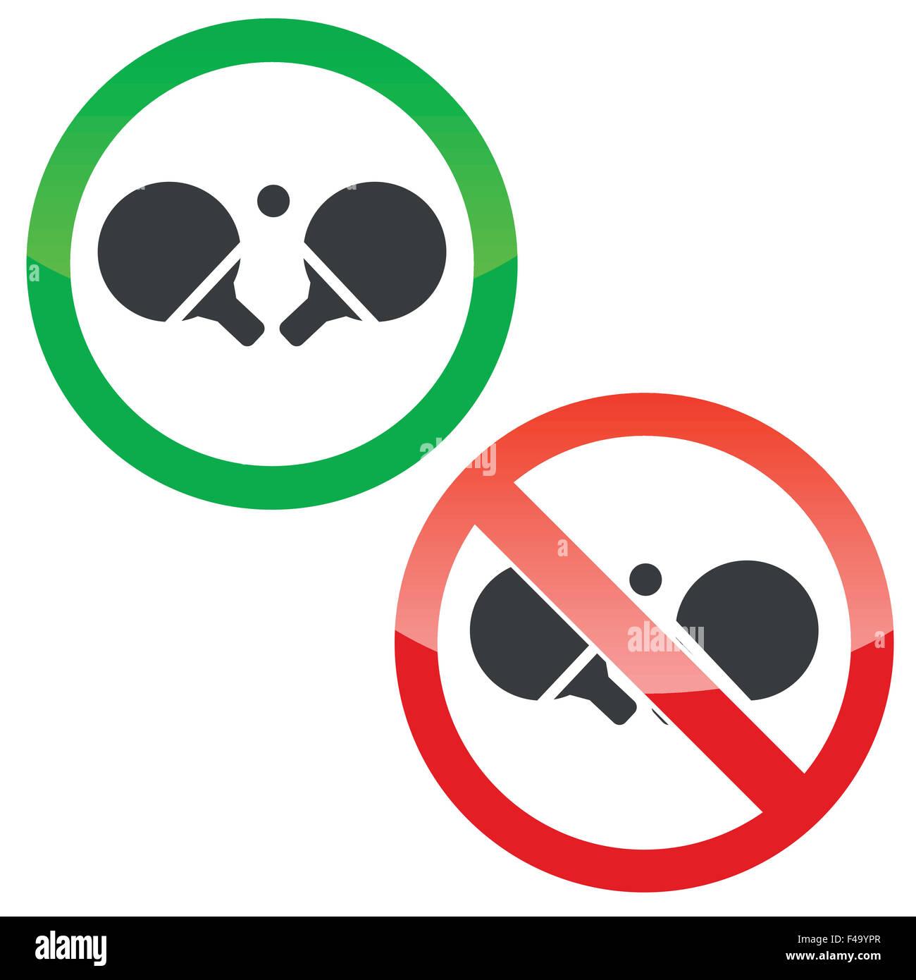Tischtennis-Berechtigungssatz Zeichen Stockfoto