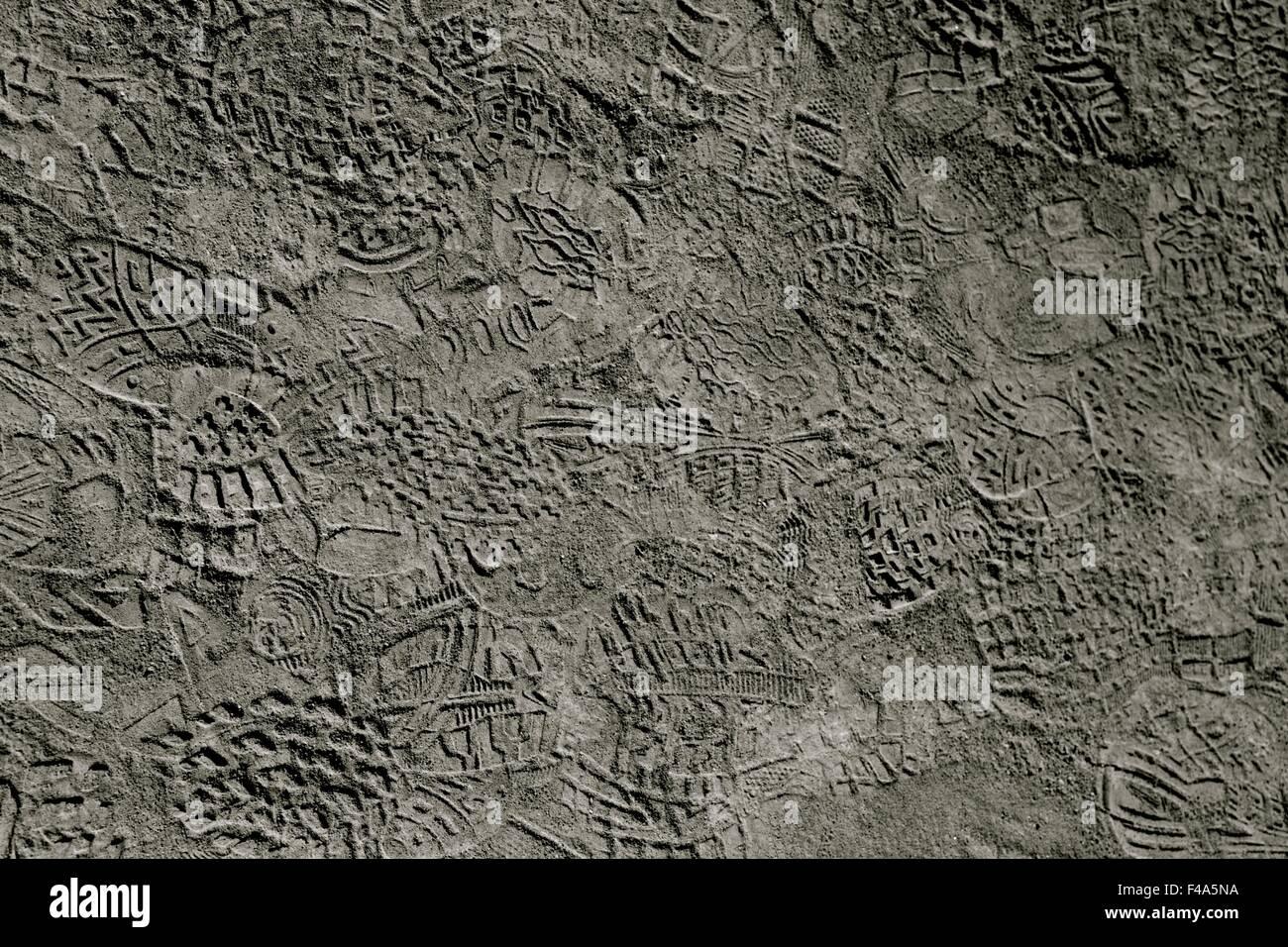Spuren-Spuren im Sand detaillierte Bild zentrale Argentinien Nationalpark Ischigualasto Reisen Urlaub Ausflug Natur Stockbild