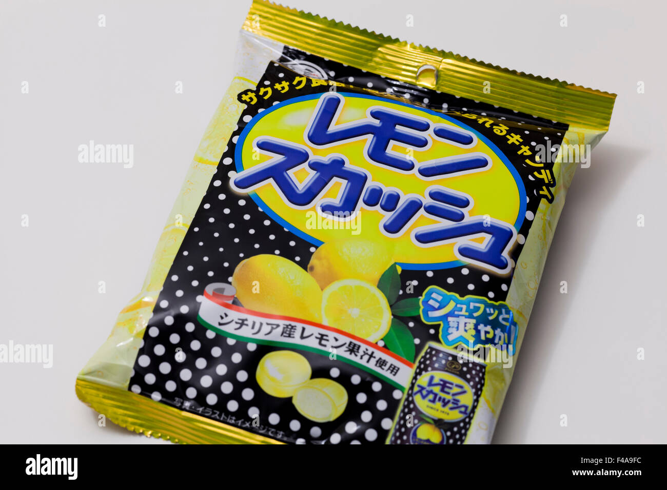 Fujiya Lemon Squash-Süßigkeiten-Paket Stockfoto