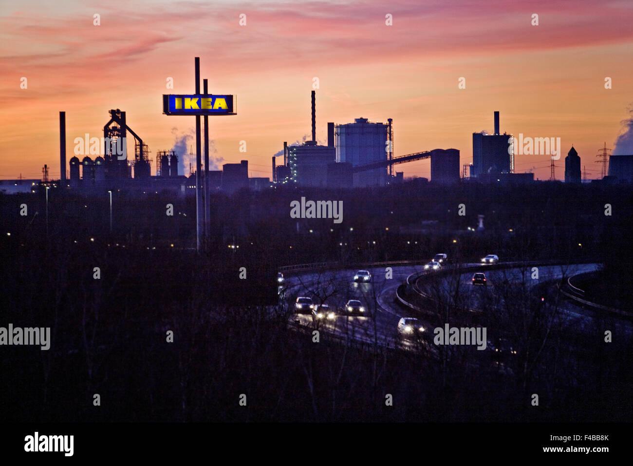 IKEA, industrielle, Autobahn A42, Deutschland. Stockbild