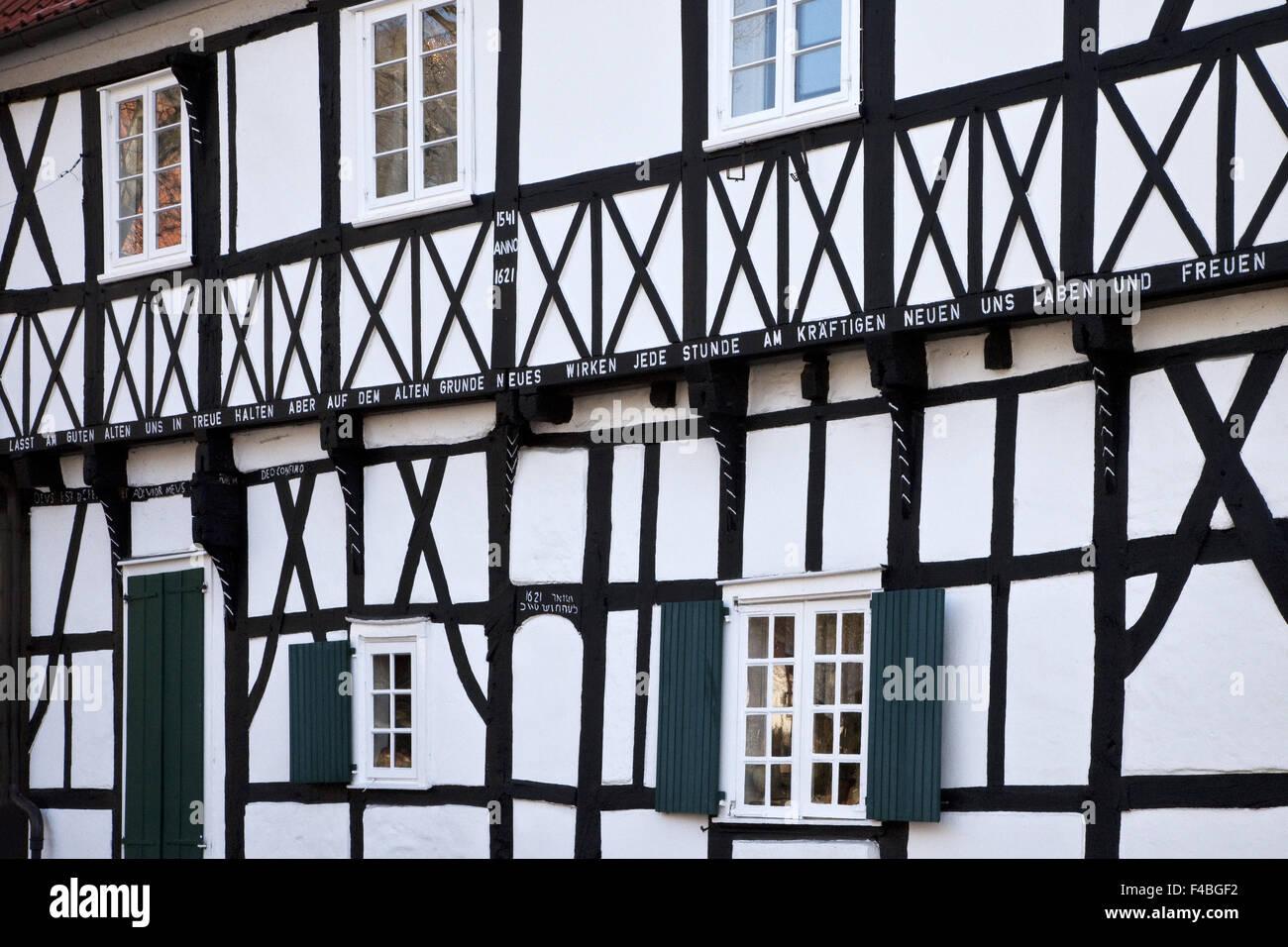 Detaillierten Fachwerkhaus, Wetter-Wengern. Stockbild