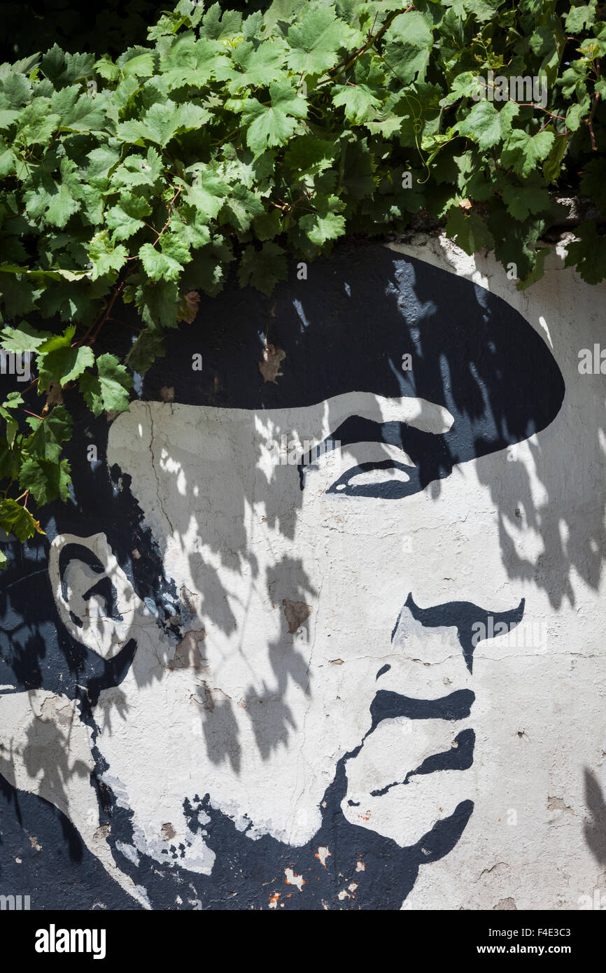 Chile, Santiago, Wandbild von Nobelpreis gewinnen chilenischen Dichter Pablo Neruda. Stockbild