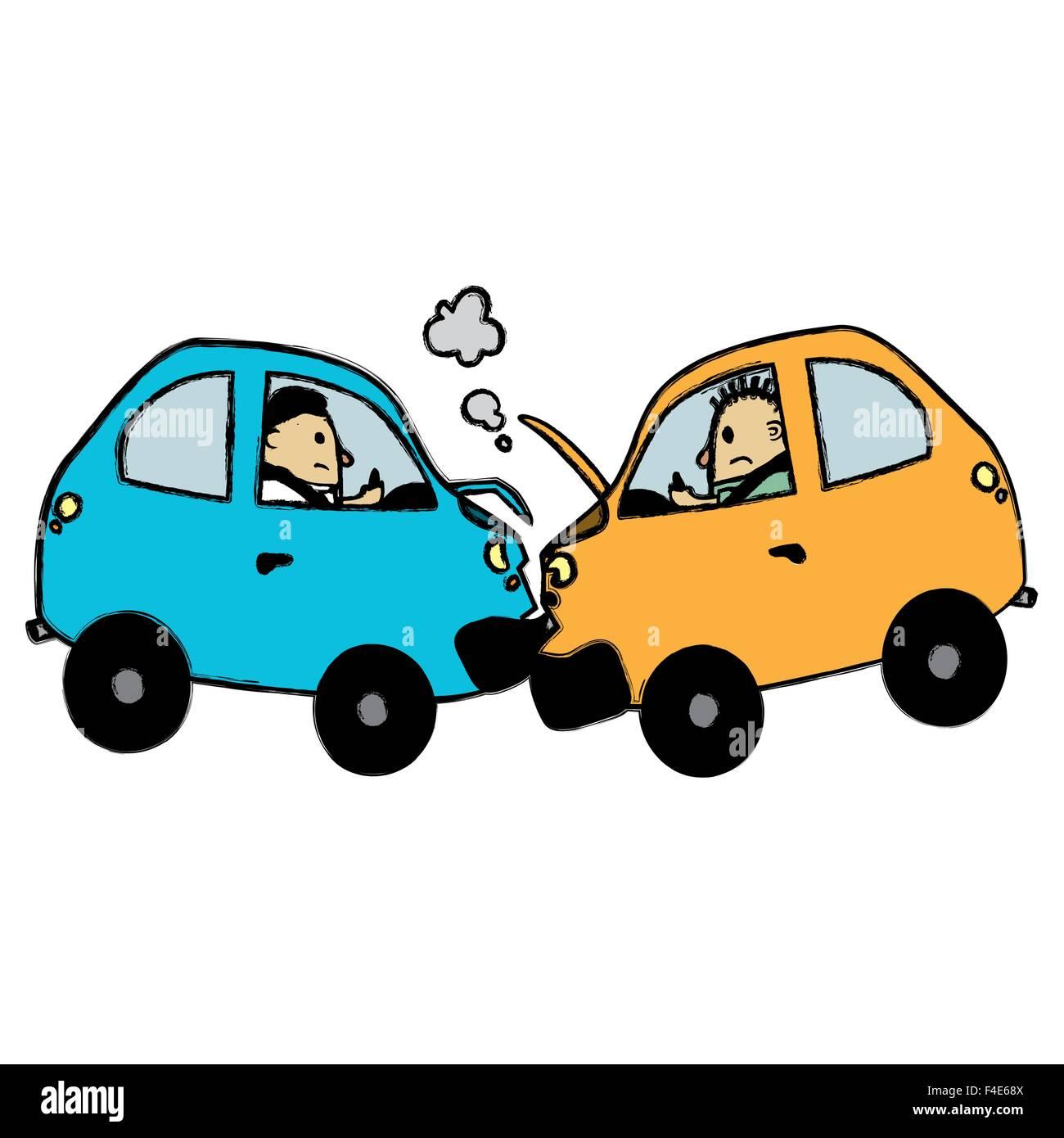 Auto Unfall Cartoon Vektor Abbildung Bild 88822746 Alamy