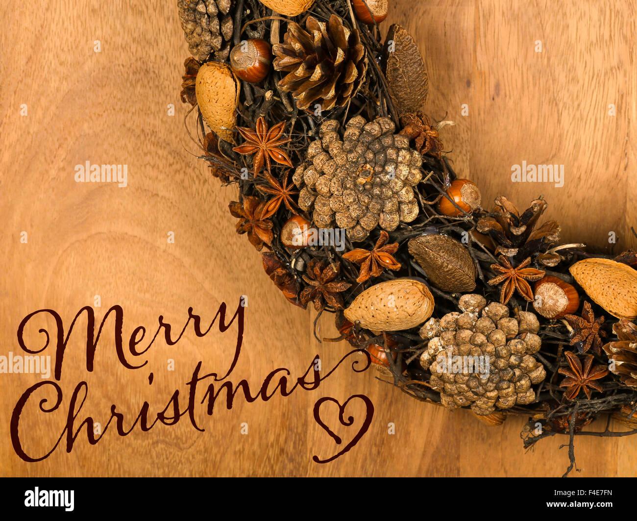 Frohe Weihnachten Nachricht, handgemachte natürliche Kranz ...