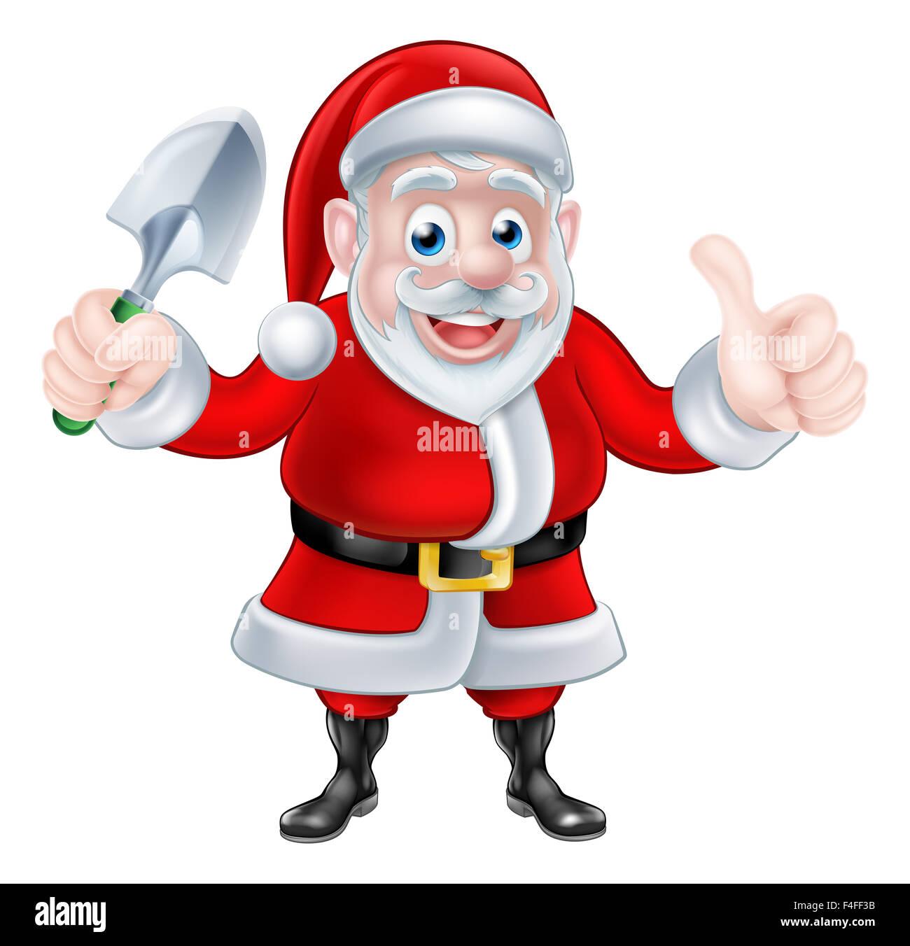 Weihnachten Cartoon Weihnachtsmann Holding Gartenarbeit Kelle Spaten ...