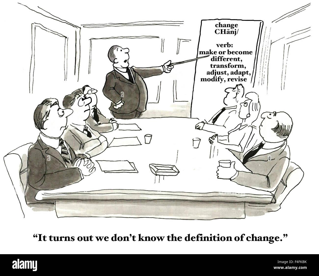 Professionelle Karikatur des Menschen in einer Sitzung und Diagramm ...