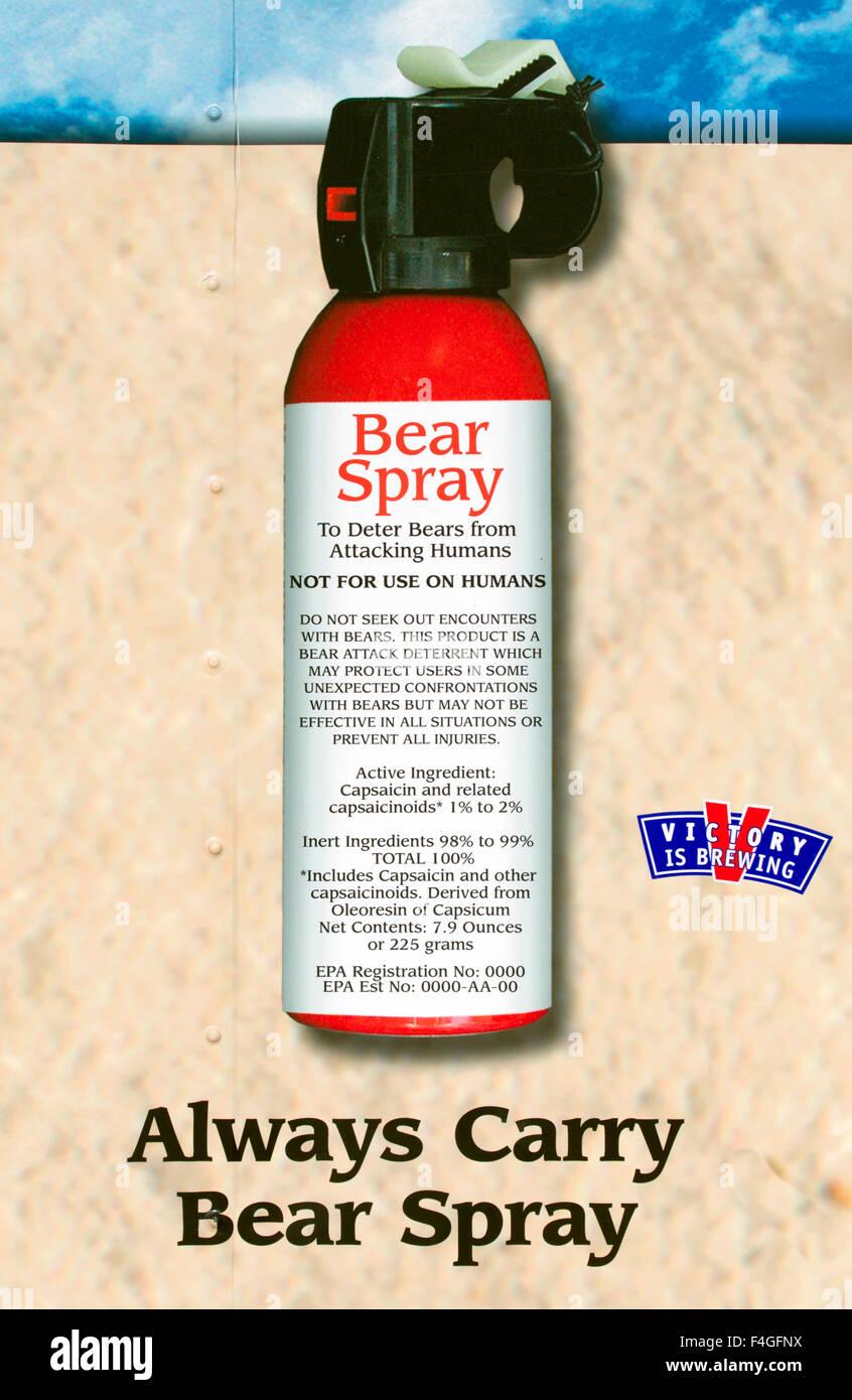 Plakat anzeigen kann von Bear Spray Stockbild