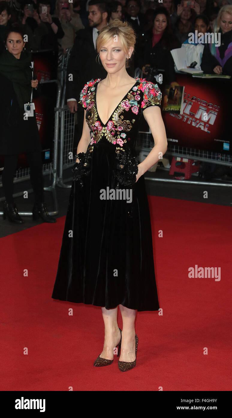 "London, UK. 17. Oktober 2015. Cate Blanchett Teilnahme an ""Wahrheit"" Screening am BFI London Film Festival Stockbild"