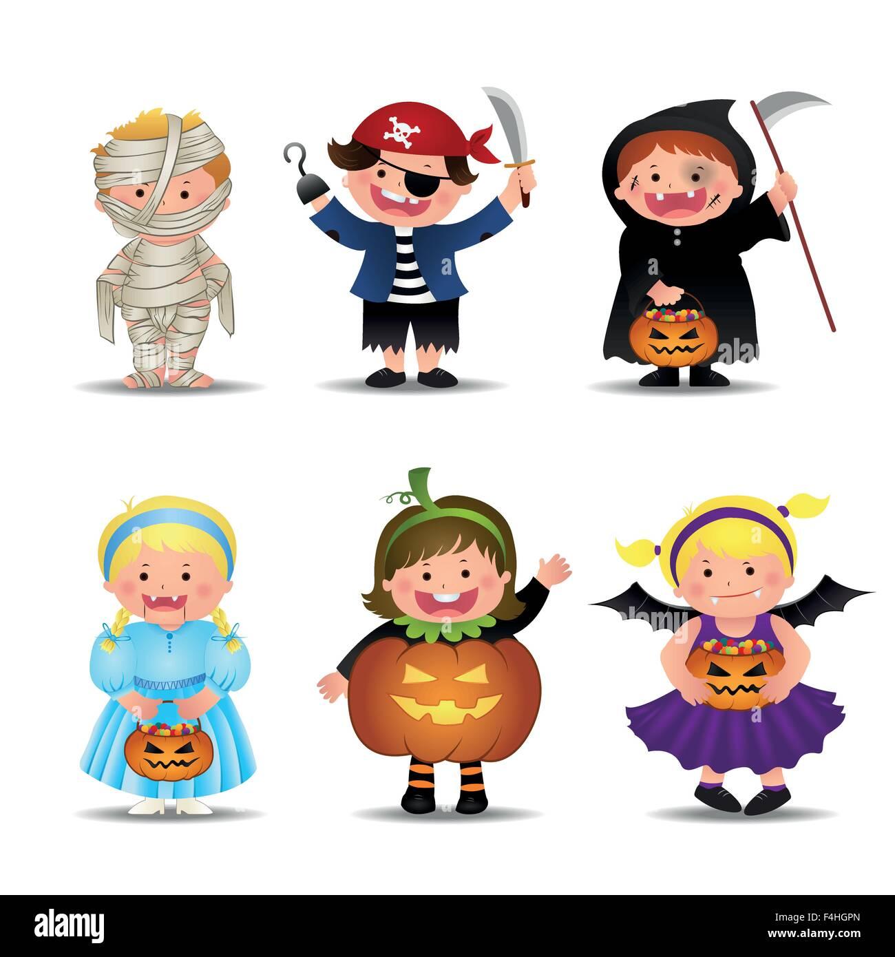 cartoon cute halloween kids in stockfotos cartoon cute halloween kids in bilder alamy. Black Bedroom Furniture Sets. Home Design Ideas