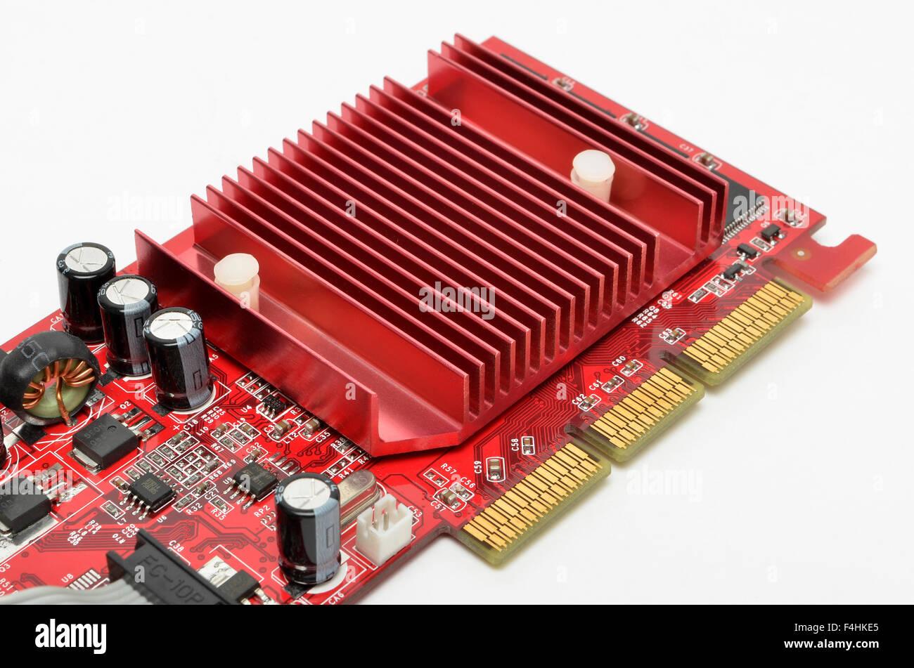 Gainward Grafikkarte Kühlkörper und AGP-Kontakte. Stockbild