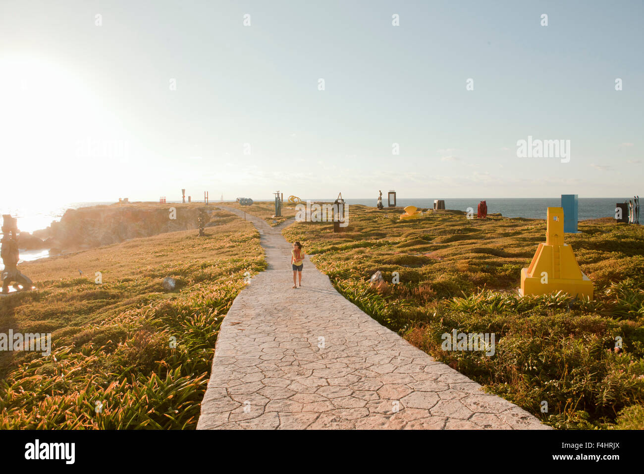 Der Skulpturenpark bei Sonnenaufgang. Punta Sur, Isla Mujeres, Quintana Roo, Mexiko. Stockbild
