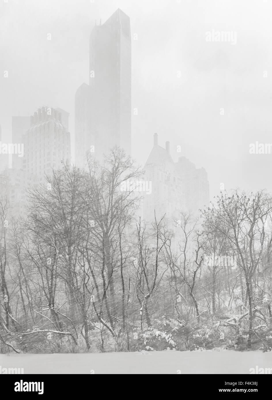 Central Park am Weiher, New York City. Manhattan Wolkenkratzer erscheinen aus einem Schneesturm Winter. Stockbild